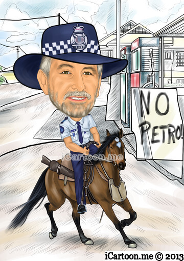 Picture to caricature for retiring after 40 years - police officer did his rounds on horseback