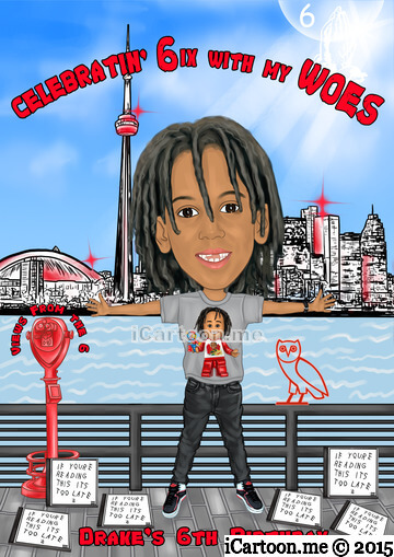 Birthday caricature gift - arm stretched out like owing the Toronto Skyline