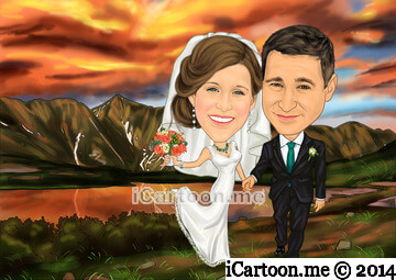 Caricature for wedding guest book - a Colorado sunset with the Rocky Mountains in the background