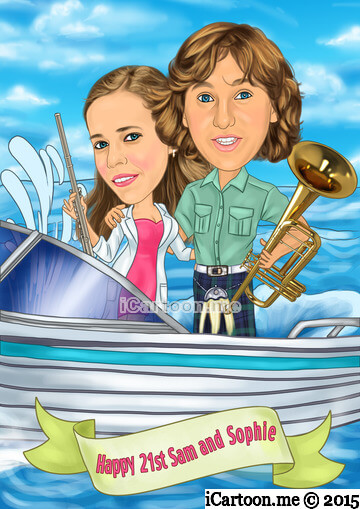 Turn photo to cartoon for 21st birthday - couple in boat