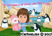 little girl dragging her stuffed pink dog with some penguins in the background
