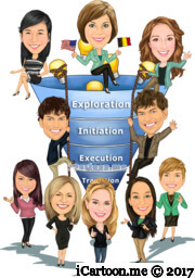 team work group caricature