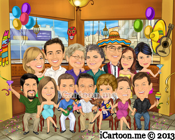Family caricature for 60th wedding anniversary