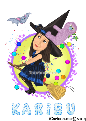 kids comedian witch caricature logo