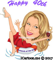 Happy 40th female caricature with red dress on swimming pool