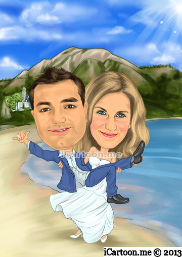 Wedding Invitation - bride to be holding the groom in a background with beach and mt. Olympus