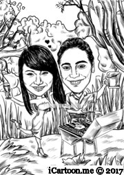 couple cooking BBQ with native bush background in sketch