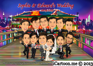 Group caricature for wedding including Groomsmen and Bestmen