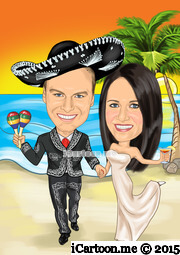 wedding invite in mexican wedding suit and in Riviera Maya