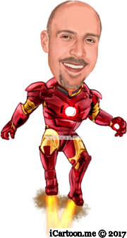 iron man flying caricature