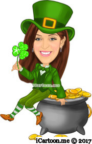 St. Patricks day in the green outfit with pot of gold caricature