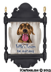 dog caricature in tavern sign hanging outside a pub