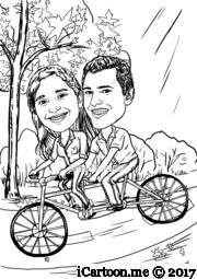 couple riding on a tandem bicycle in a park