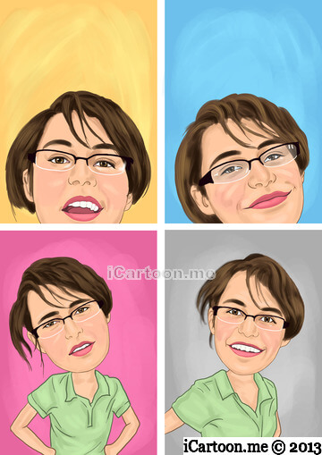 Caricature gift from photos - four headshots