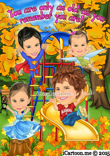 Picture to caricature for mother's 80th birthday - zipping down a curly yellow slide in a park with 3 great grandchildren