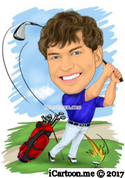golf caricature on golf course with golf bag