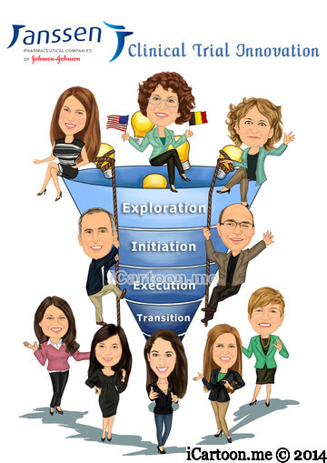 Retirement Gift - Group caricature of 10 working in clinical trial innovation