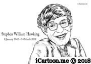 Stephen William Hawking black and white sketch