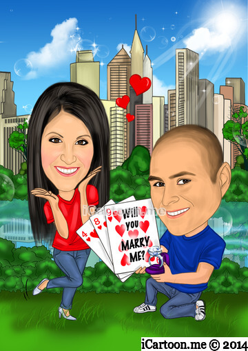 Wedding gift - a caricature of the proposal