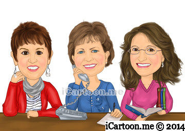 Caricature gift for Retiring together - secretary, teachers