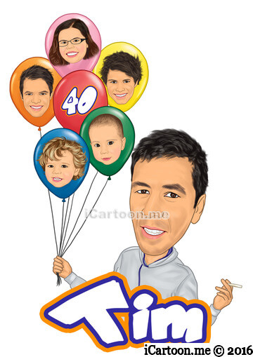 Birthday caricature gift for husband