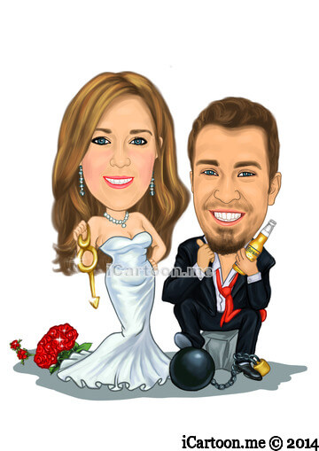 Save the date - Groom with ball and chain and Bride with keys in hand