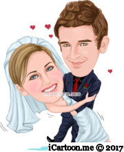 dancing wedding caricature with small red hearts