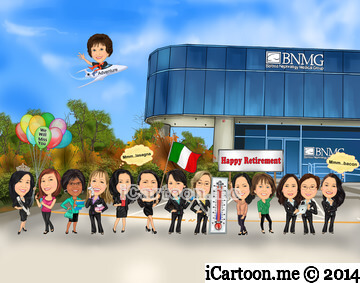 Retirement caricature gift - everyone standing in front of BNMG building with their individual poses. Plane flying