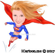 superwoman flying caricature