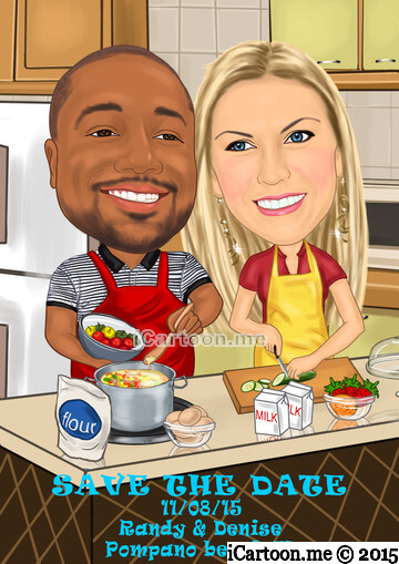 Wedding save the date - laughing, cooking together in a nice kitchen