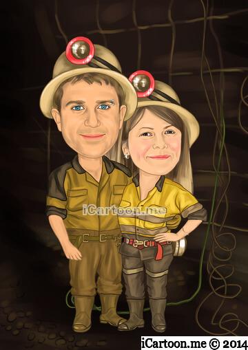 couple standing in underground mining