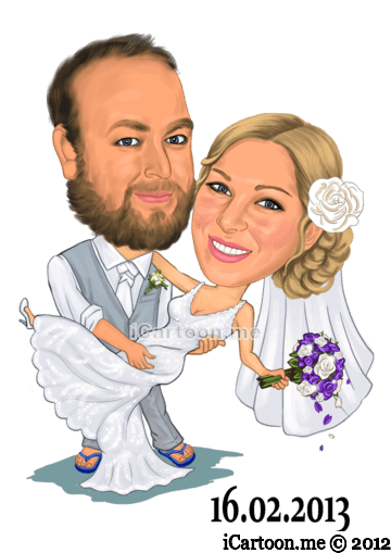 Wedding caricature for use on surfboard as guest book - couple dancing
