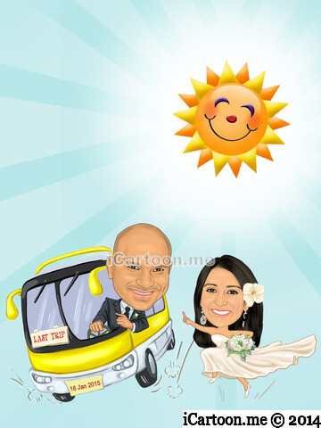Wedding Invitation - bus and sun shining