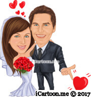 wedding caricature with finger pointing red hearts and red hearts bubbles