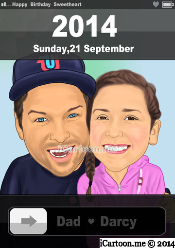 Turn photo to cartoon - father and daughter in a iphone screenshot