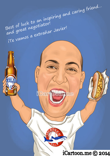 Farewell caricature gift - favored beer and arepa food