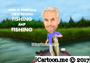 fishing hobby caricature