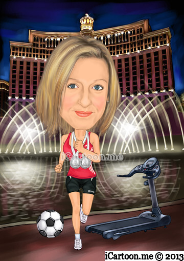 Drawing from photos - running in front of Bellagio fountains