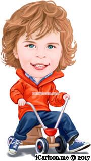 kid riding toy bicycle