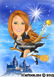 Drawing from photo - female harry potter caricature