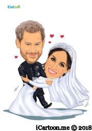 harry and meghan wedding caricature - dancing