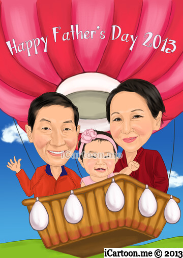 Caricature for father's day gift - hot air balloon with granddaughter