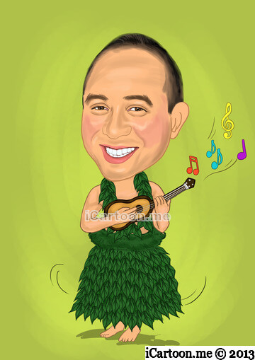 Retirement Caricature Gift - hula bobble doll strumming a uklele in hula skirt and dark green lei