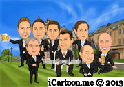 wedding caricature - groomsmen