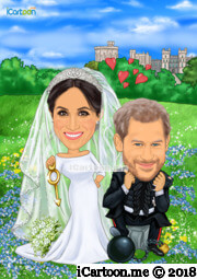 Prince Harry and Meghan wedding caricature chain and key