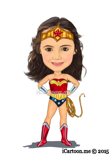 Cartoon from photo - wonder woman standing with arms on hips