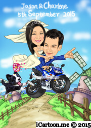 wedding caricature that groom and bride on motorcycle with a dog