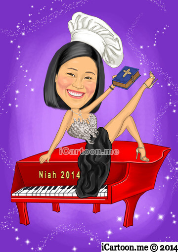 Custom caricature gift - sitting on the red piano wearing a chief hat and holding the bible