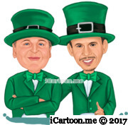 2 men drawn from waist up in St Patrick's Day Theme