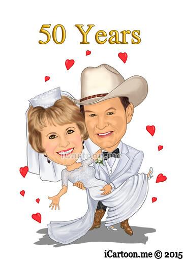 Golden anniversary caricature